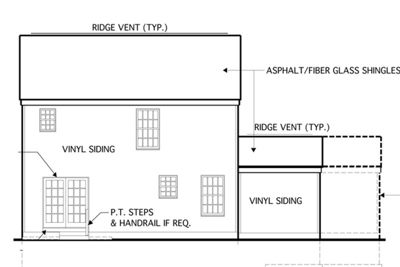 Country Exterior - Rear Elevation Plan #1053-15 - Houseplans.com