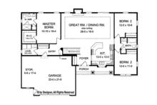 Ranch Floor Plan - Main Floor Plan Plan #1010-100