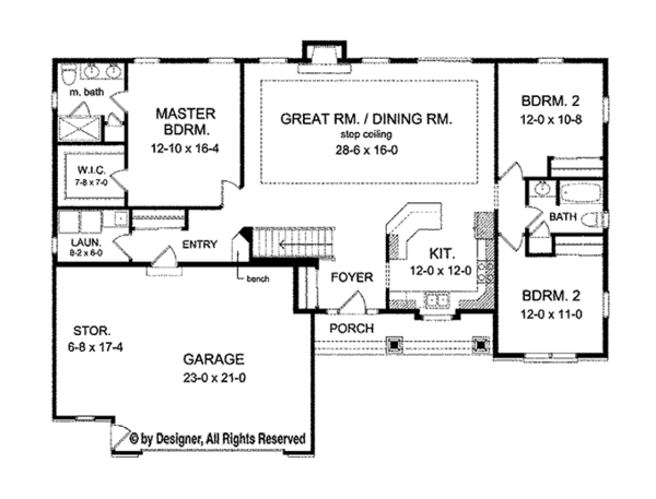 Ranch Floor Plan - Main Floor Plan Plan #1010-100