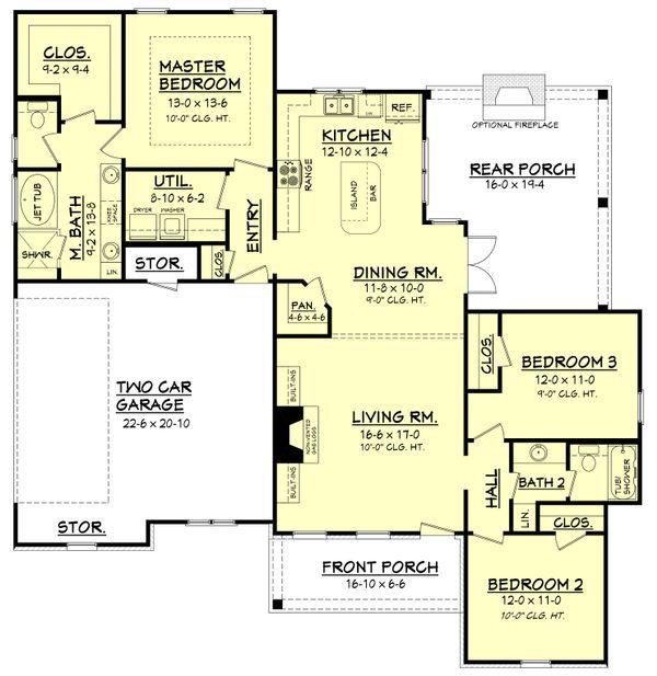 Architectural House Design - Ranch Floor Plan - Main Floor Plan #430-108