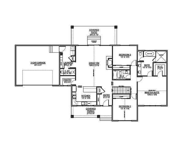 House Blueprint - Country Floor Plan - Main Floor Plan #1073-19