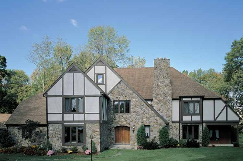 House Blueprint - Tudor Exterior - Front Elevation Plan #72-619