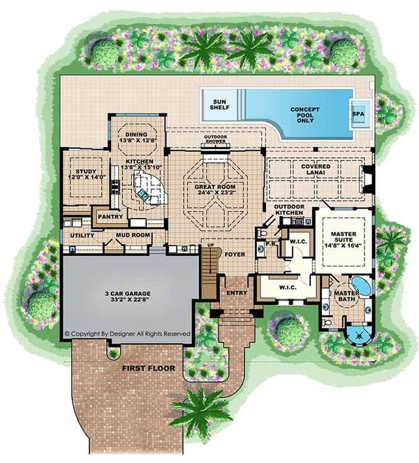 Mediterranean Floor Plan - Main Floor Plan Plan #1017-169