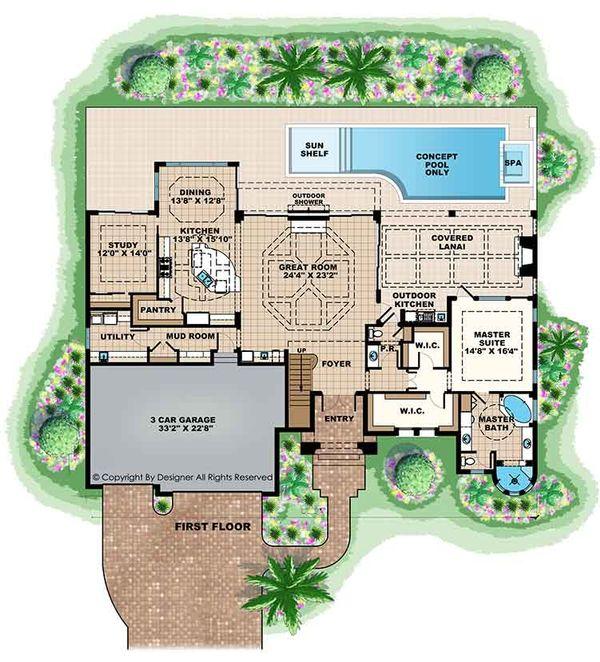 House Plan Design - Mediterranean Floor Plan - Main Floor Plan #1017-169