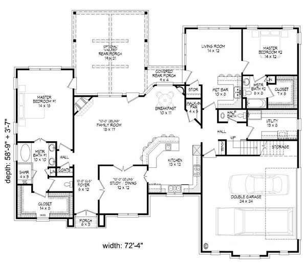 European Floor Plan - Main Floor Plan Plan #932-5