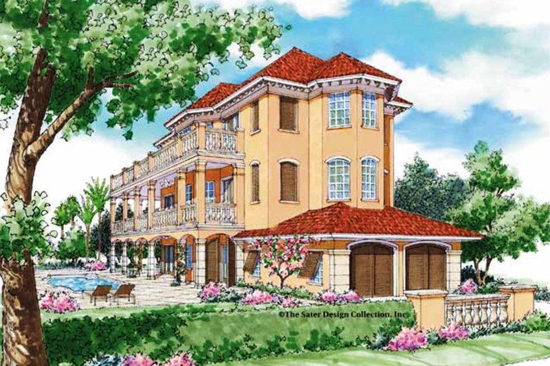 Mediterranean Exterior - Front Elevation Plan #930-79