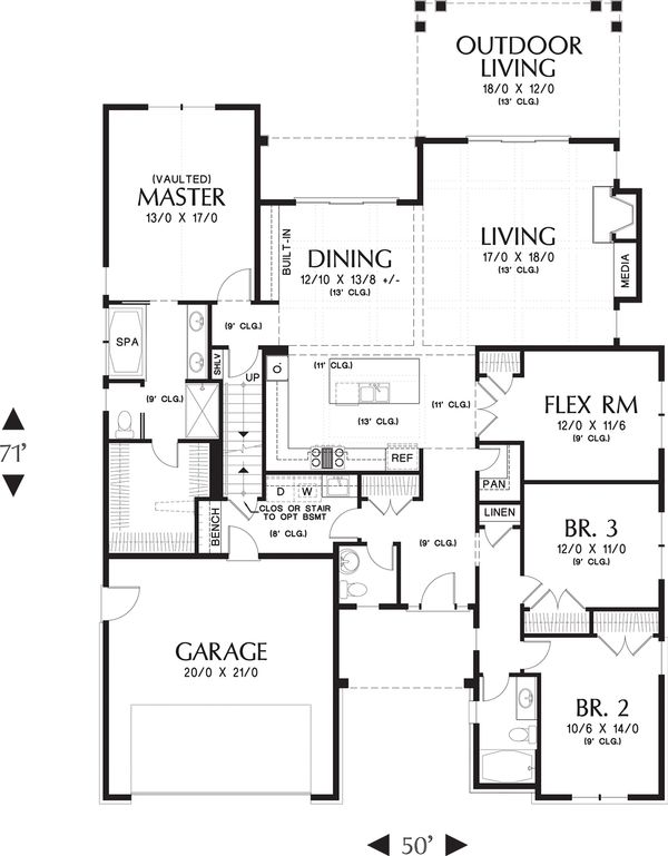 Craftsman Floor Plan - Main Floor Plan Plan #48-662