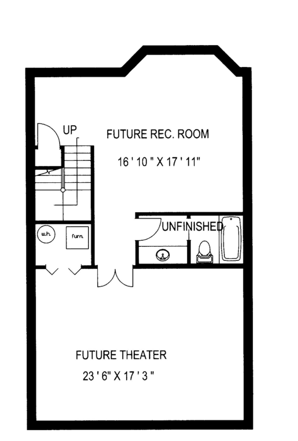 Traditional Floor Plan - Lower Floor Plan Plan #117-834