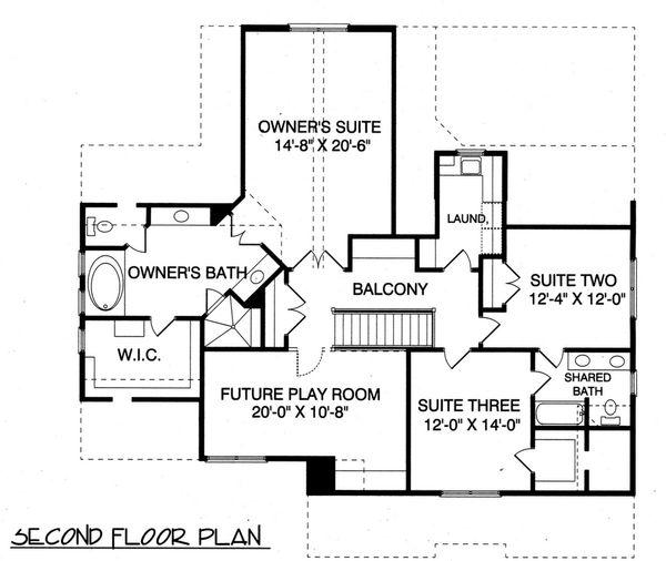 Craftsman Floor Plan - Upper Floor Plan Plan #413-841
