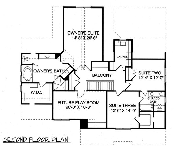 Craftsman Floor Plan - Upper Floor Plan #413-841