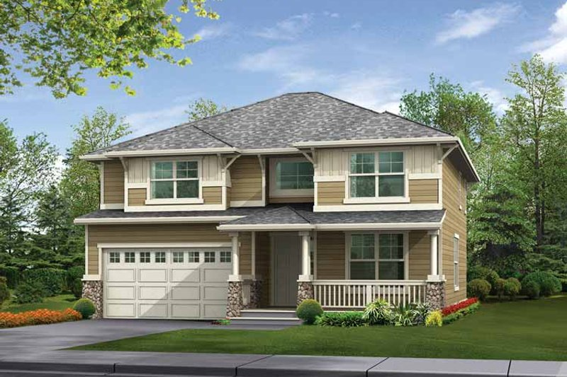 Prairie Exterior - Front Elevation Plan #132-306