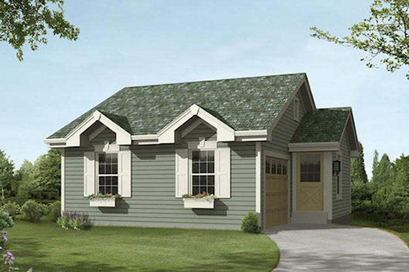 Cottage Style House Plan - 1 Beds 1.5 Baths 771 Sq/Ft Plan #57-394 Exterior - Front Elevation