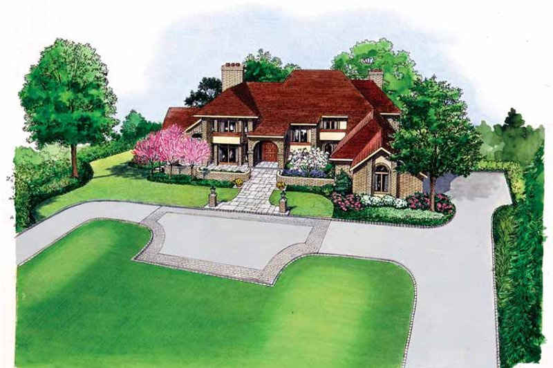 European Exterior - Front Elevation Plan #1040-36
