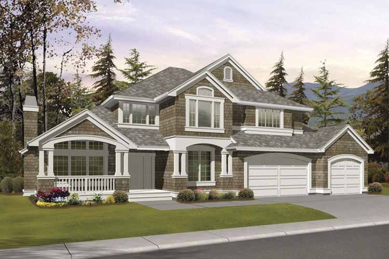 Architectural House Design - Craftsman Exterior - Front Elevation Plan #132-390