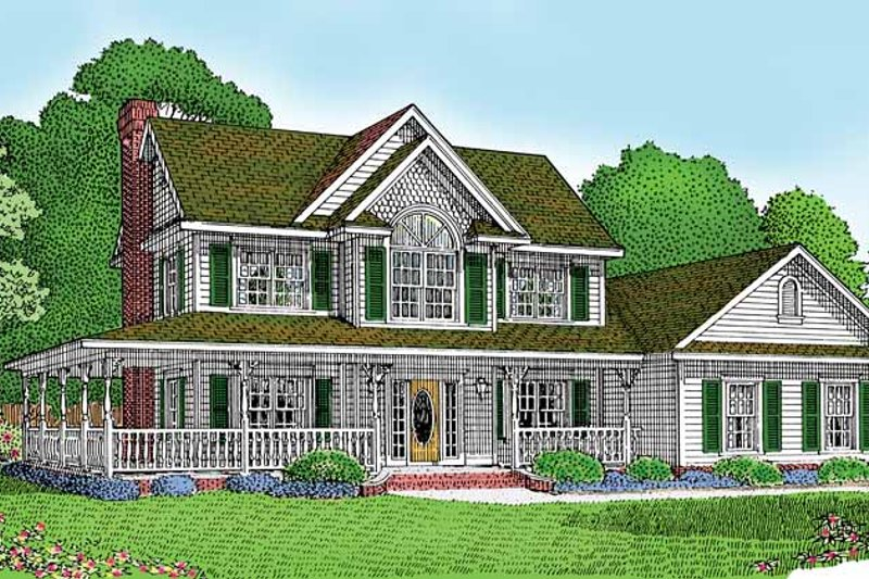 Architectural House Design - Country Exterior - Front Elevation Plan #11-245