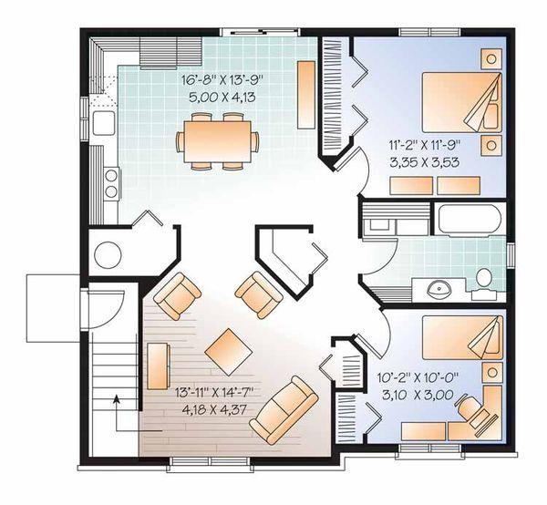 Home Plan - Traditional Floor Plan - Lower Floor Plan #23-2560