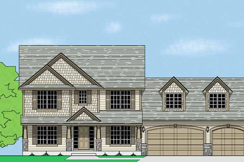 Country Exterior - Front Elevation Plan #981-7