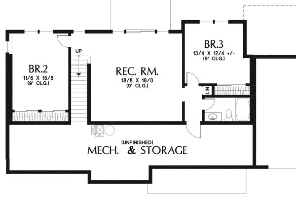 Craftsman Floor Plan - Lower Floor Plan Plan #48-970
