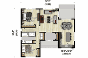 Contemporary Style House Plan - 2 Beds 1 Baths 1223 Sq/Ft Plan #25-4920