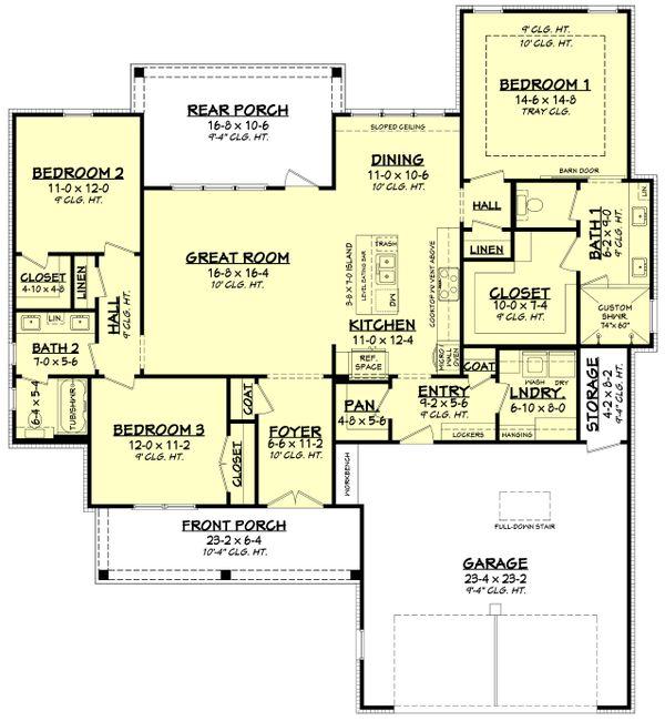 Architectural House Design - Farmhouse Floor Plan - Main Floor Plan #430-250