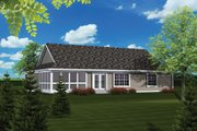 Ranch Style House Plan - 3 Beds 2 Baths 1520 Sq/Ft Plan #70-1077 Exterior - Rear Elevation
