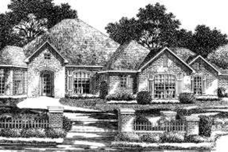 European Style House Plan - 4 Beds 3.5 Baths 4277 Sq/Ft Plan #310-164 Exterior - Front Elevation