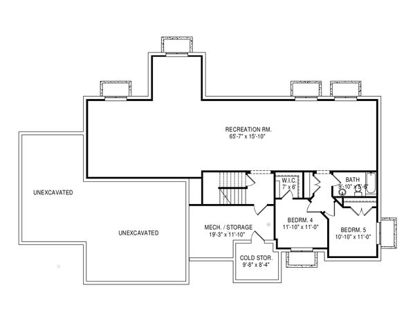 Craftsman Floor Plan - Lower Floor Plan Plan #920-110