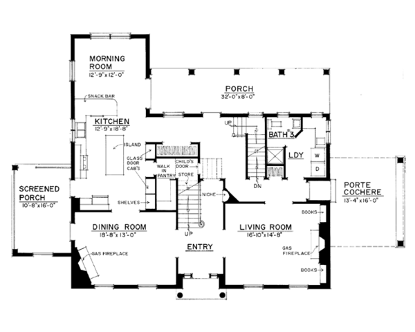 Colonial Floor Plan - Main Floor Plan Plan #1016-100