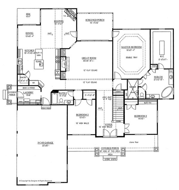 Country Floor Plan - Main Floor Plan Plan #437-72