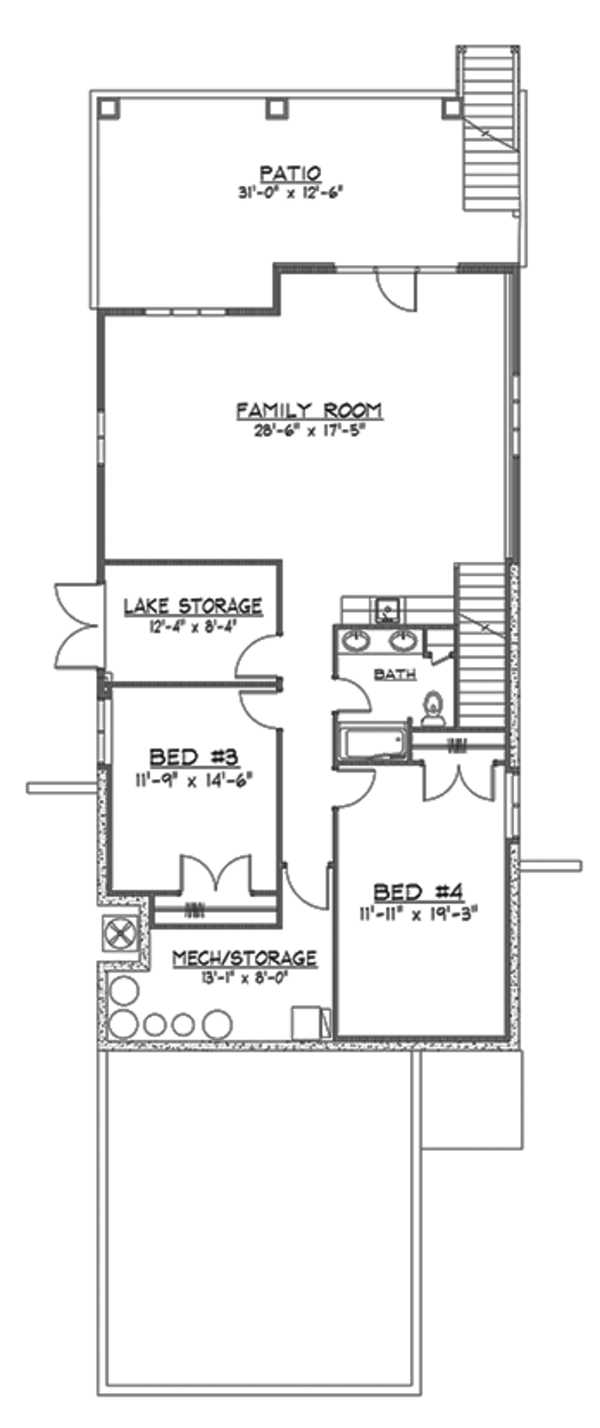 Craftsman Floor Plan - Lower Floor Plan Plan #1064-7