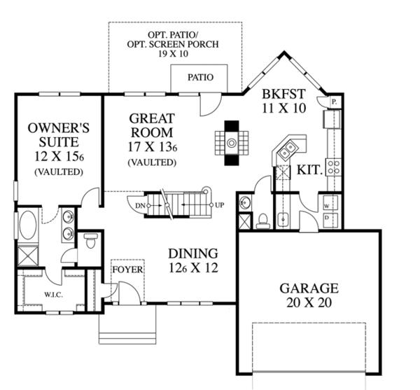 Traditional Floor Plan - Main Floor Plan Plan #1053-39