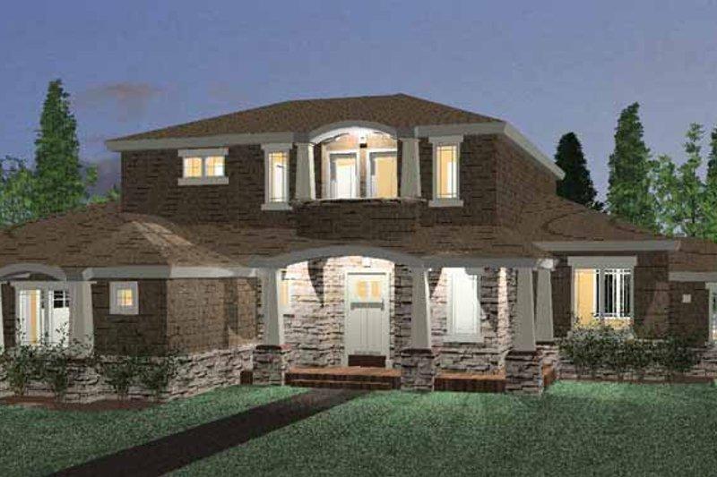 Architectural House Design - Prairie Exterior - Front Elevation Plan #937-1