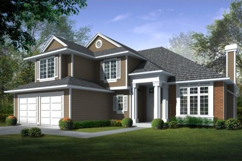 Traditional Style House Plan - 4 Beds 2.5 Baths 2426 Sq/Ft Plan #100-445 Exterior - Front Elevation