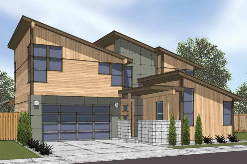 Contemporary Exterior - Front Elevation Plan #569-8 - Houseplans.com