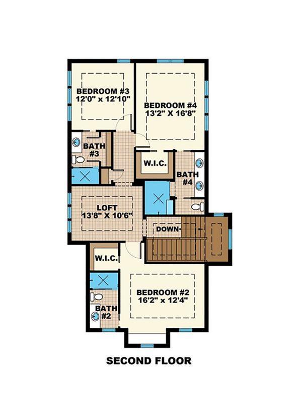 Beach Floor Plan - Upper Floor Plan Plan #27-543