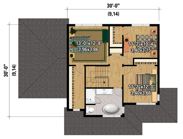 Contemporary Floor Plan - Upper Floor Plan Plan #25-4373