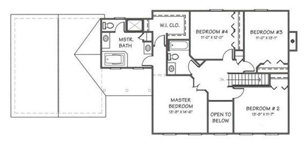 Colonial Floor Plan - Upper Floor Plan Plan #446-2