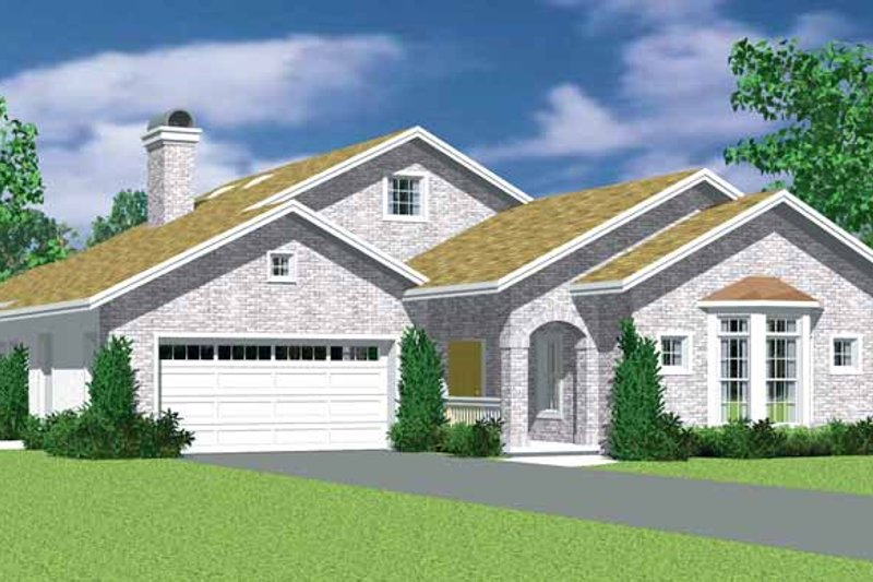 House Blueprint - European Exterior - Front Elevation Plan #72-1136