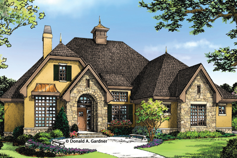 Country style house plan 3 beds 3 baths 1715 sq ft plan for Cottage house plans with porte cochere