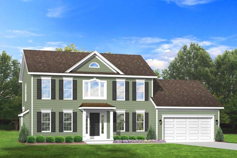 Colonial Exterior - Front Elevation Plan #1010-71