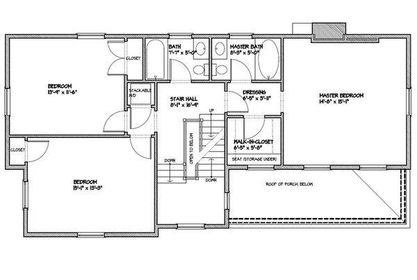 Colonial Floor Plan - Upper Floor Plan Plan #477-5