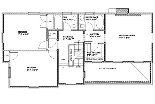 Colonial Floor Plan - Upper Floor Plan Plan #477-5