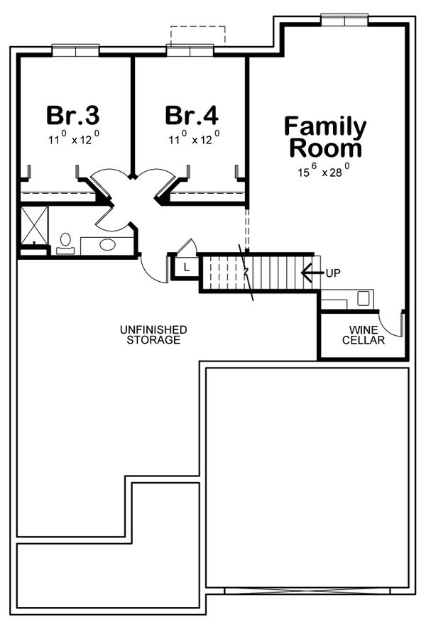 Cottage Floor Plan - Lower Floor Plan Plan #20-2387