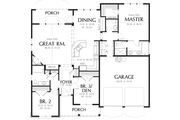 Cottage Style House Plan - 3 Beds 2.5 Baths 1580 Sq/Ft Plan #48-102 Floor Plan - Main Floor Plan