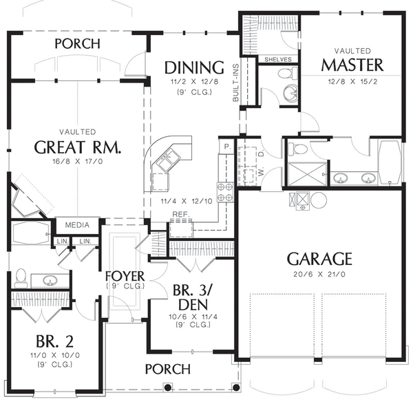 Cottage style floor plan layout 48-102