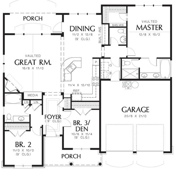 House Plan Design - Cottage style floor plan layout 48-102