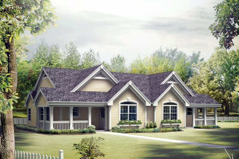 Architectural House Design - Country Exterior - Front Elevation Plan #57-684