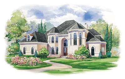 European Exterior - Front Elevation Plan #20-1183 - Houseplans.com