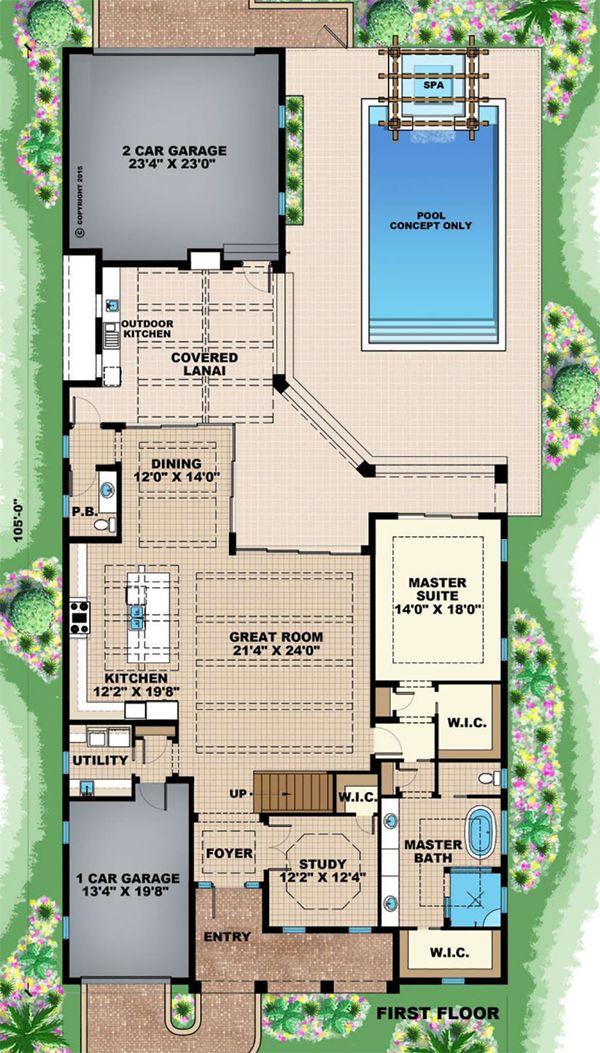 Beach Floor Plan - Main Floor Plan Plan #27-543