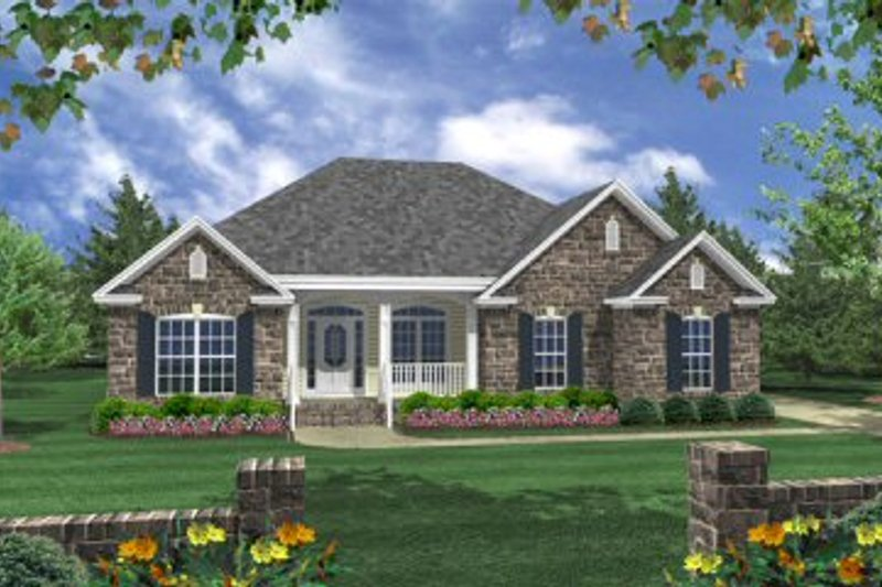 Southern Style House Plan - 3 Beds 2 Baths 1610 Sq/Ft Plan #21-203 Exterior - Front Elevation